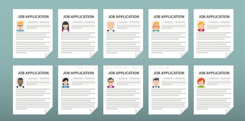 Människor 10 Job Applications royaltyfri illustrationer