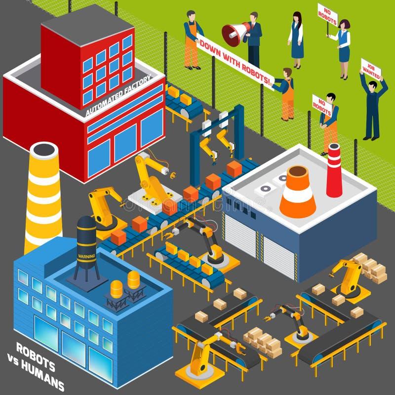 Människor mot automationbransch vektor illustrationer
