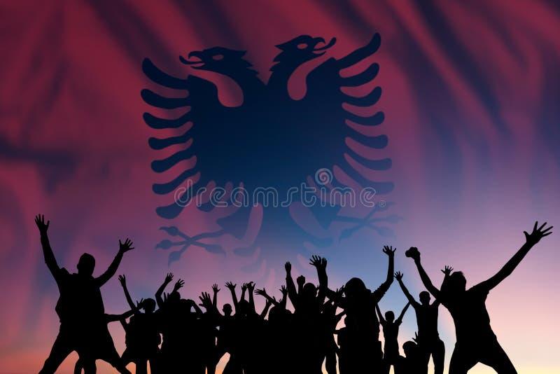 Människor och flagga på Albaniens dag royaltyfri fotografi