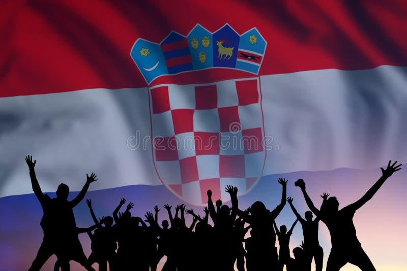 Människor och flagga på Kroatiens dag fotografering för bildbyråer