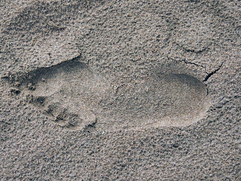 Människors fotavtryck i stranden arkivbilder