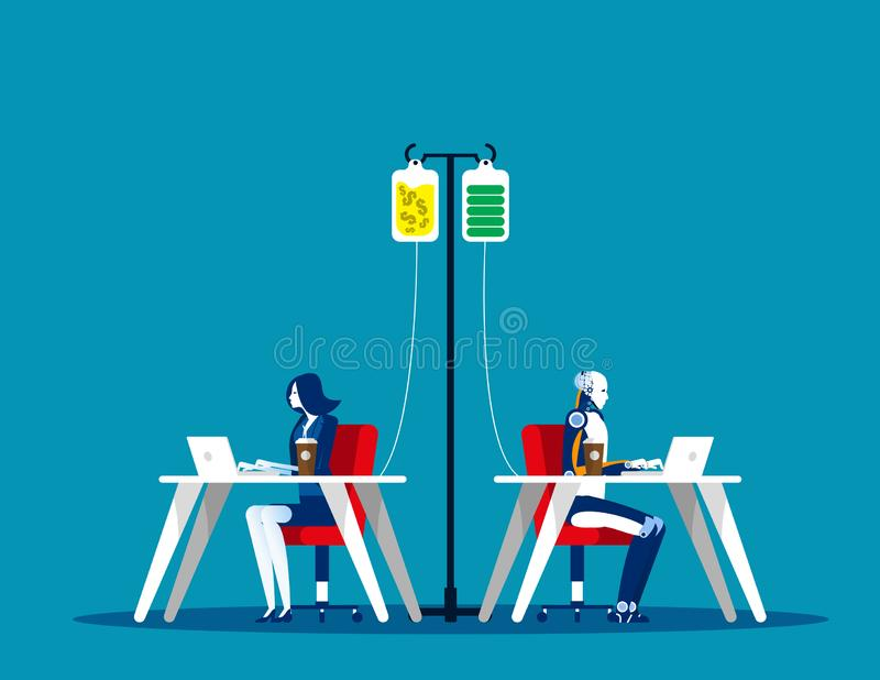 Människors och Robots behov Begreppet affärsvektor, finans och ekonomi, människors behov, Arbeta vektor illustrationer