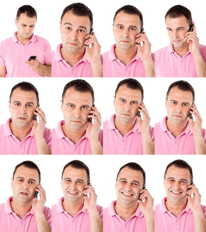 Männliche Ausdrücke am Telefon lizenzfreie stockbilder