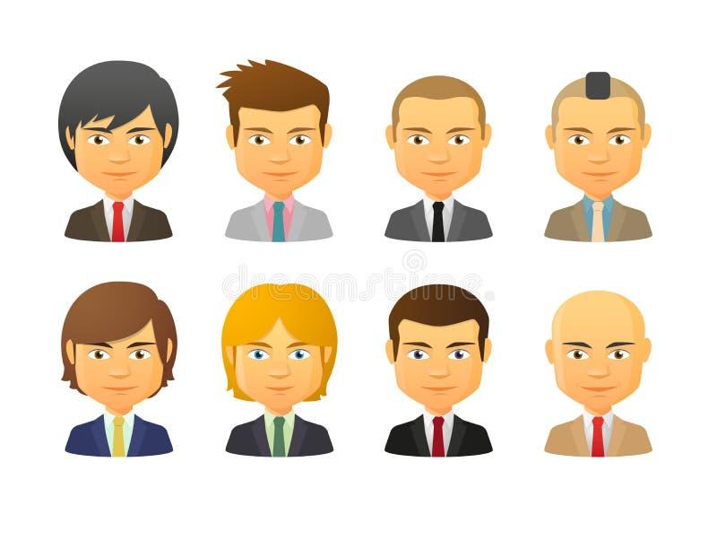 Männliche Avataras, die Anzug mit verschiedenen Frisuren tragen stock abbildung