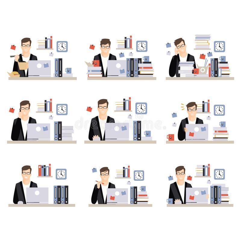 Männliche Büroangestellt-tägliche Arbeits-Szenen mit verschiedenen Gefühlen, Satz Illustrationen des beschäftigten Tages im Büro stock abbildung
