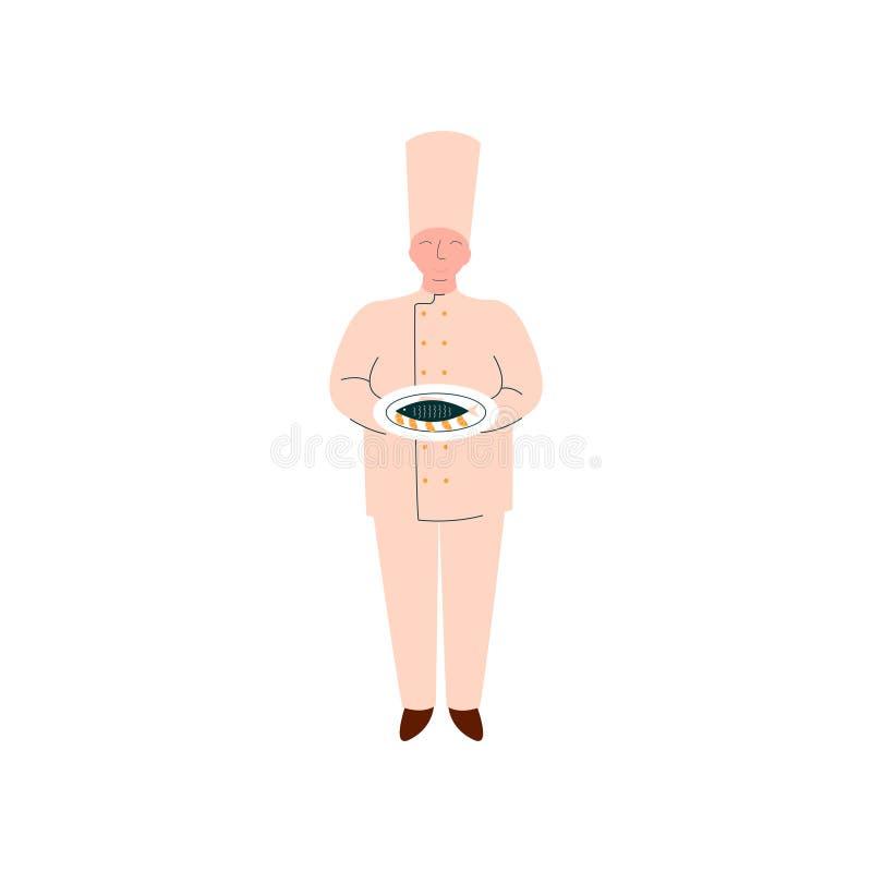 Männliche Chef-Koch-Holding Freshly Prepared-Fische auf Platte, Berufs-Kitchener-Charakter in der einheitlichen Vektor-Illustrati stock abbildung