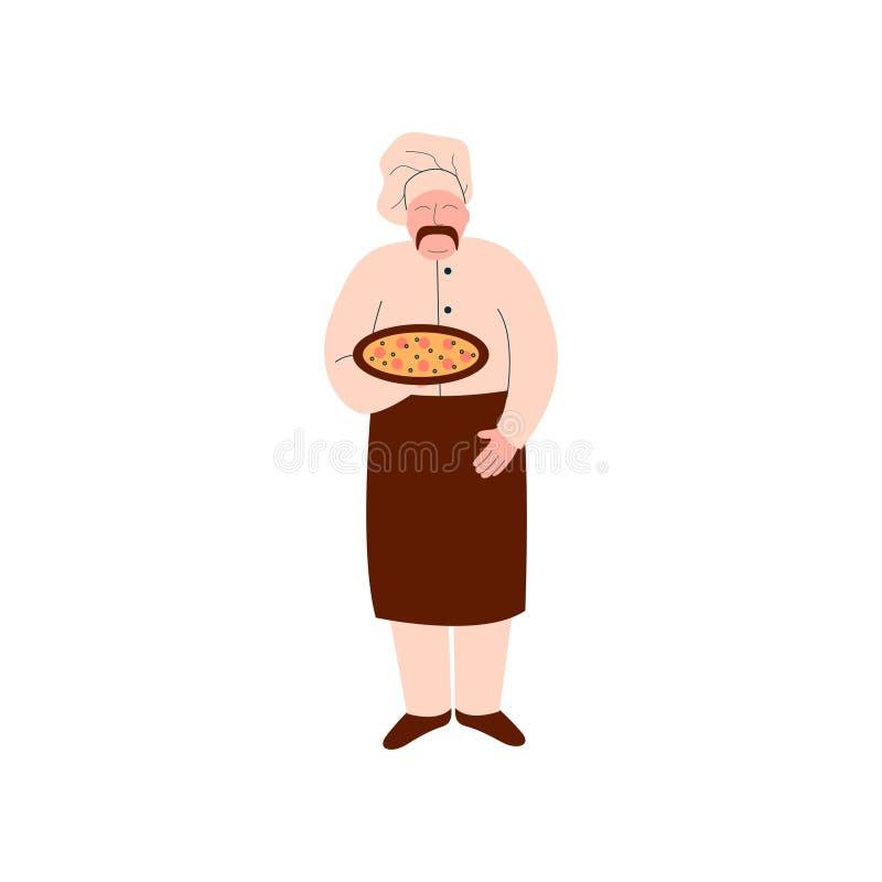 Männliche Chef-Koch-Holding Freshly Prepared-Pizza auf Behälter, Pizza-Hersteller-Charakter, der Pizza-Vektor-Illustration kocht vektor abbildung