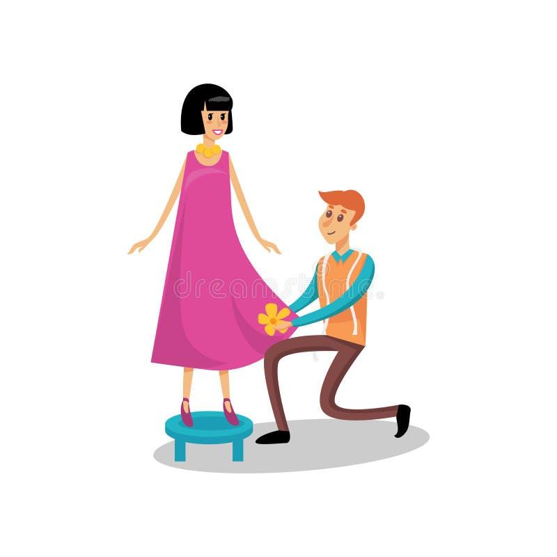 Männliche Damenschneiderin, die seinen weiblichen Kunden, nähend an Atelierkarikatur-Vektor Illustration dient stock abbildung