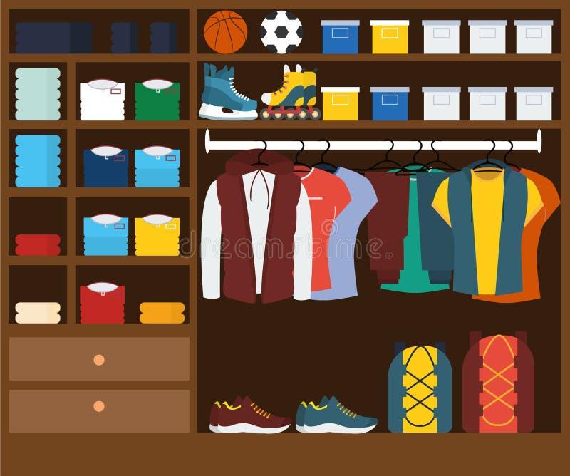 Männliche Garderobe muzhskaya kleidet im Wandschrank, sportliche Art stock abbildung