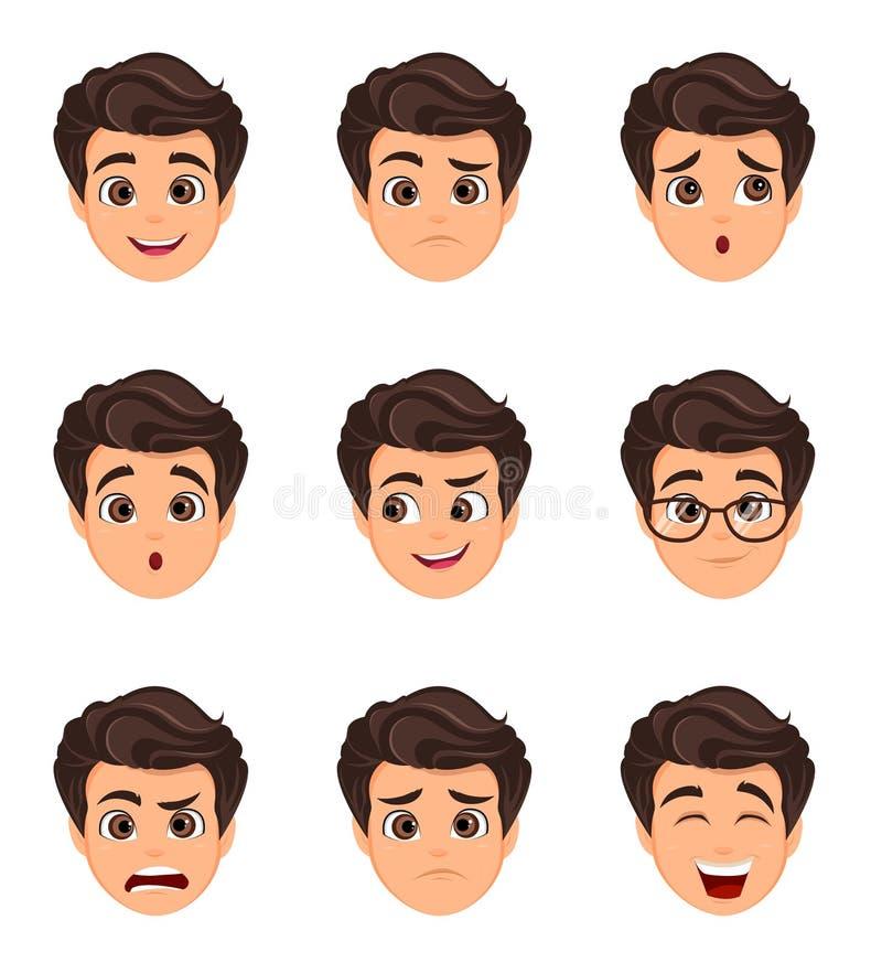 Männliche Gefühle eingestellt Lustiges Gesicht Zeichentrickfilm-Figur mit var vektor abbildung