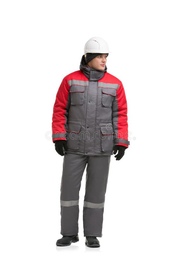 Männliche in grauen und roten Arbeitsbekleidung Ansicht lizenzfreie stockfotografie