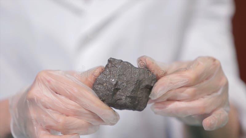 Männliche Hände in den Handschuhen, die Kohle halten Wissenschaftler mit einer Probe der Kohle Schwarze Kohle in Bergmann ` s Han stockfoto