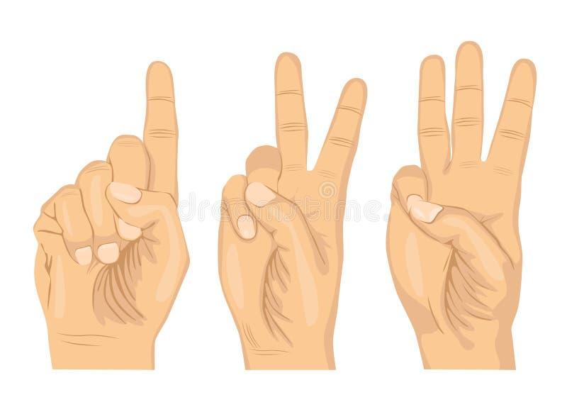 Männliche Hände, die Nr. eine zwei und drei mit den Fingern zählen lizenzfreie abbildung