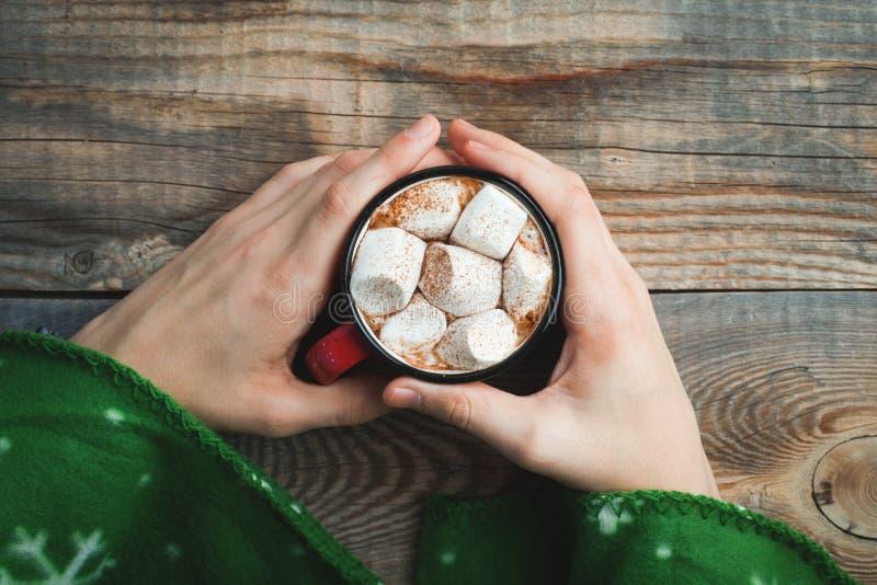 Männliche Hände, die roten Becher mit Kakao und Eibischen auf hölzernem Hintergrund halten Draufsicht mit Kopienraum stockfotografie