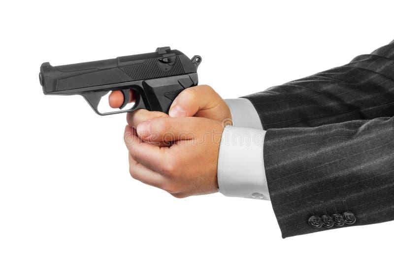 Männliche Hände mit Gewehr lizenzfreies stockfoto