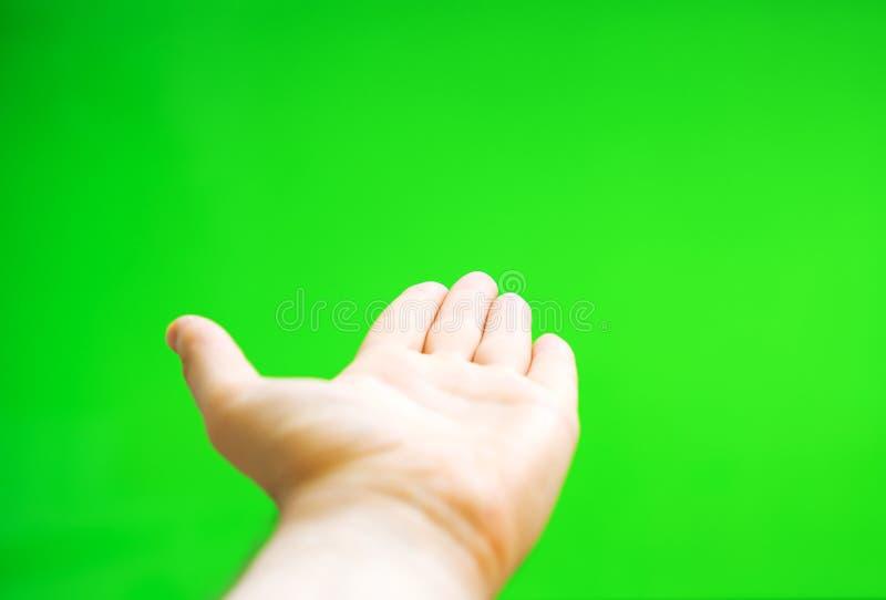 Männliche Hand bietet etwas an stockbild
