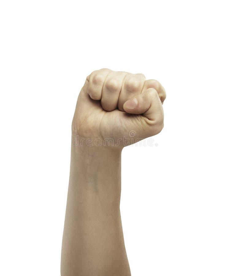 Männliche Hand in der Faust getrennt auf weißem Hintergrund. lizenzfreies stockbild