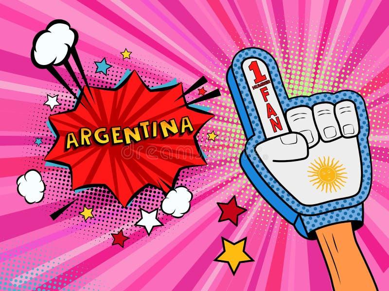 Männliche Hand des Sportfans im Handschuh hob Gewinn von Argentinien-Landesflagge oben feiern an Argentinien-Spracheblase mit Ste vektor abbildung