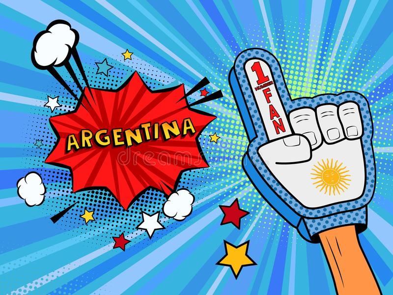 Männliche Hand des Sportfans im Handschuh hob Gewinn von Argentinien-Landesflagge oben feiern an Argentinien-Spracheblase mit Ste lizenzfreie abbildung