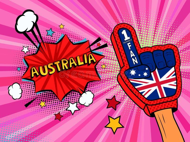 Männliche Hand des Sportfans im Handschuh hob Gewinn von Australien-Landesflagge oben feiern an Australien-Spracheblase mit Stern lizenzfreie abbildung