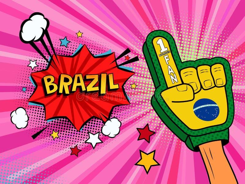 Männliche Hand des Sportfans im Handschuh hob Gewinn von Brasilien-Landesflagge oben feiern an Brasilien-Spracheblase mit Sternen vektor abbildung