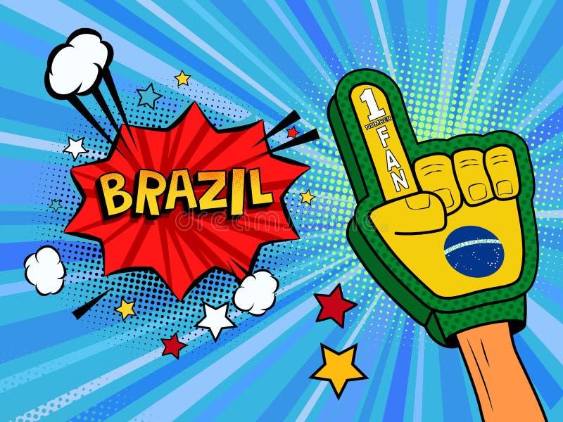 Männliche Hand des Sportfans im Handschuh hob Gewinn von Brasilien-Landesflagge oben feiern an Brasilien-Spracheblase mit Sternen lizenzfreie abbildung