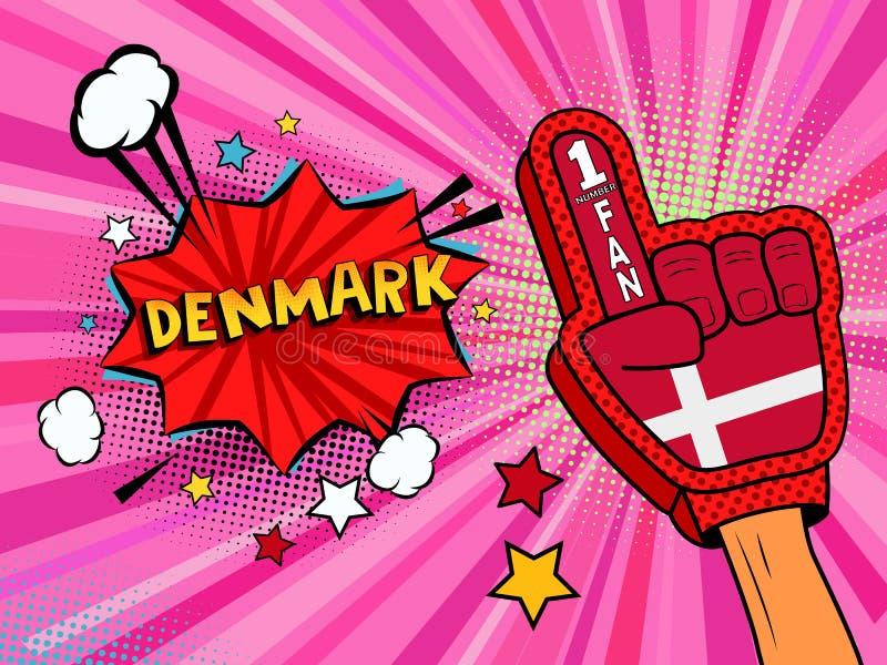 Männliche Hand des Sportfans im Handschuh hob Gewinn von Dänemark-Landesflagge oben feiern an Dänemark-Spracheblase mit Sternen u vektor abbildung