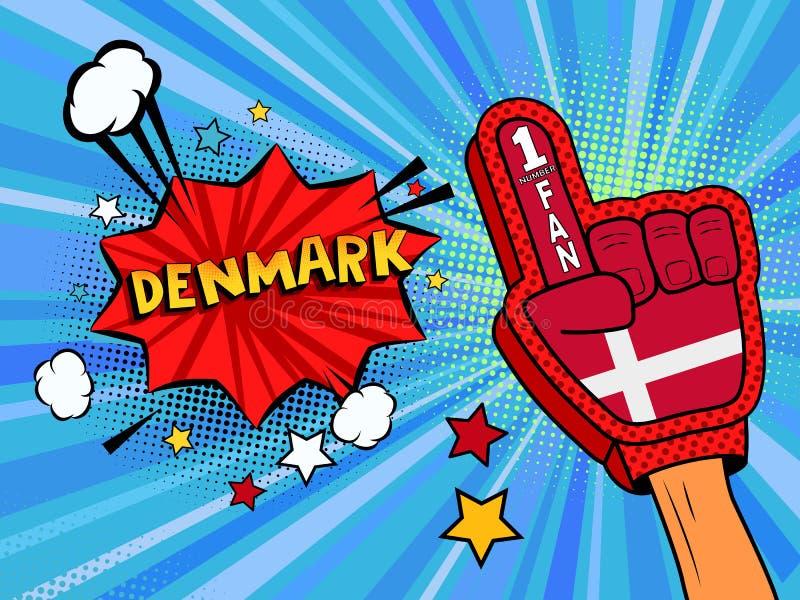 Männliche Hand des Sportfans im Handschuh hob Gewinn von Dänemark-Landesflagge oben feiern an Dänemark-Spracheblase mit Sternen u lizenzfreie abbildung