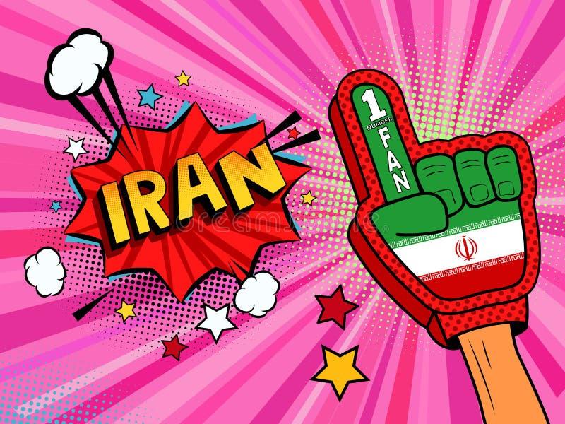Männliche Hand des Sportfans im Handschuh hob Gewinn von der Iran-Landesflagge oben feiern an Der Iran-Spracheblase mit Sternen u lizenzfreie abbildung