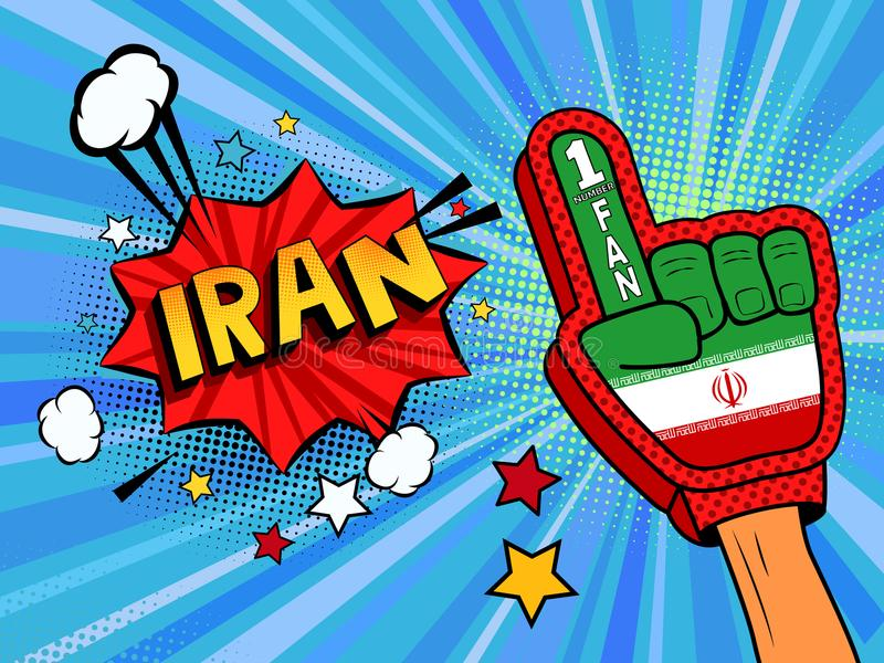 Männliche Hand des Sportfans im Handschuh hob Gewinn von der Iran-Landesflagge oben feiern an Der Iran-Spracheblase mit Sternen u vektor abbildung