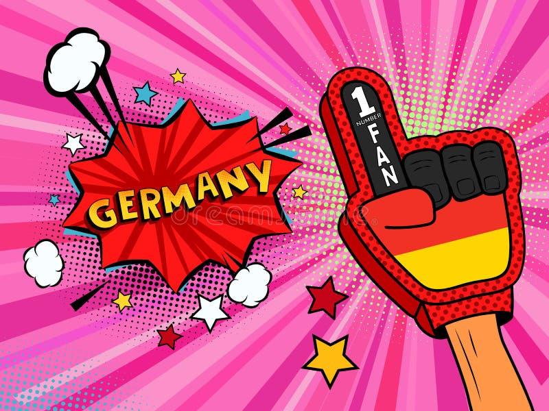 Männliche Hand des Sportfans im Handschuh hob Gewinn von Deutschland-Landesflagge oben feiern an Deutschland-Spracheblase mit Ste lizenzfreie abbildung