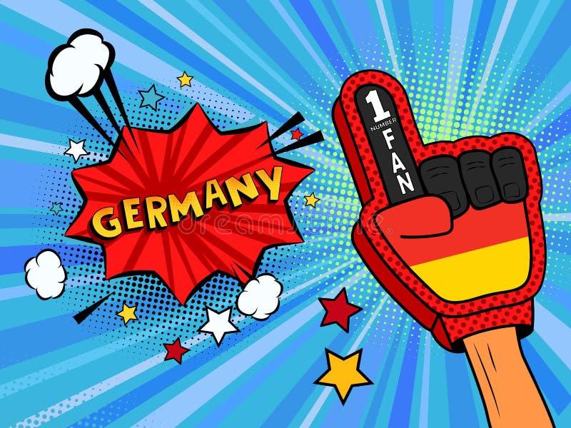 Männliche Hand des Sportfans im Handschuh hob Gewinn von Deutschland-Landesflagge oben feiern an Deutschland-Spracheblase mit Ste stock abbildung