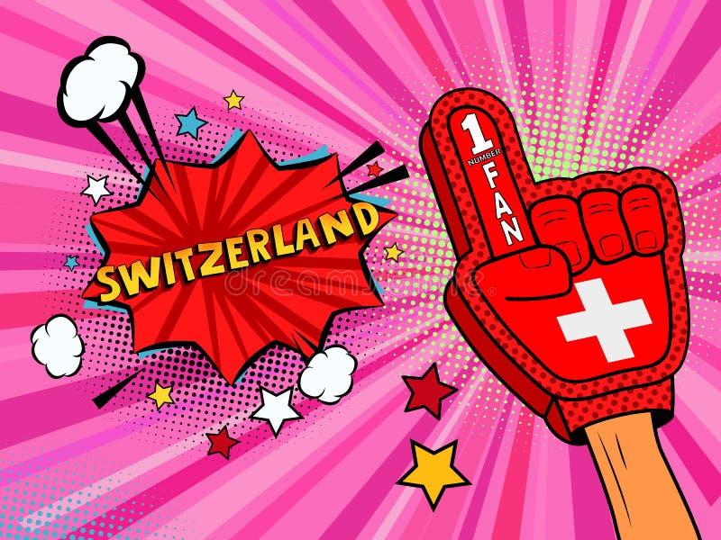 Männliche Hand des Sportfans im Handschuh hob Gewinn von die Schweiz-Landesflagge oben feiern an Die Schweiz-Spracheblase mit Ste stock abbildung