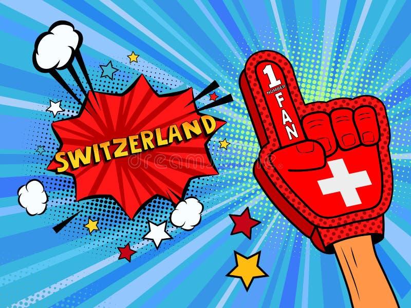 Männliche Hand des Sportfans im Handschuh hob Gewinn von die Schweiz-Landesflagge oben feiern an Die Schweiz-Spracheblase mit Ste vektor abbildung
