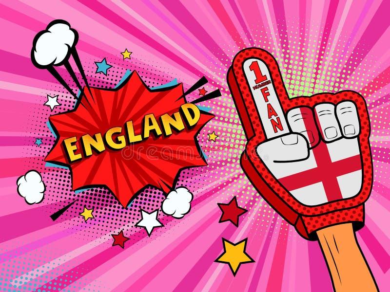 Männliche Hand des Sportfans im Handschuh hob Gewinn von England-Landesflagge oben feiern an England-Spracheblase mit Sternen und stock abbildung