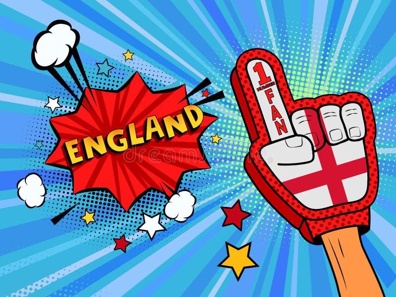 Männliche Hand des Sportfans im Handschuh hob Gewinn von England-Landesflagge oben feiern an England-Spracheblase mit Sternen und lizenzfreie abbildung