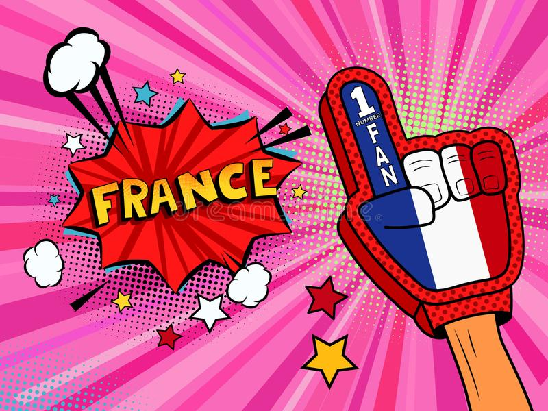 Männliche Hand des Sportfans im Handschuh hob Gewinn von Frankreich-Landesflagge oben feiern an Frankreich-Spracheblase mit Stern lizenzfreie abbildung