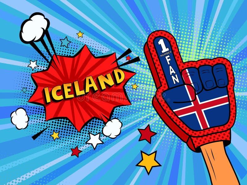 Männliche Hand des Sportfans im Handschuh hob Gewinn von Island-Landesflagge oben feiern an Island-Spracheblase mit Sternen und W lizenzfreie abbildung