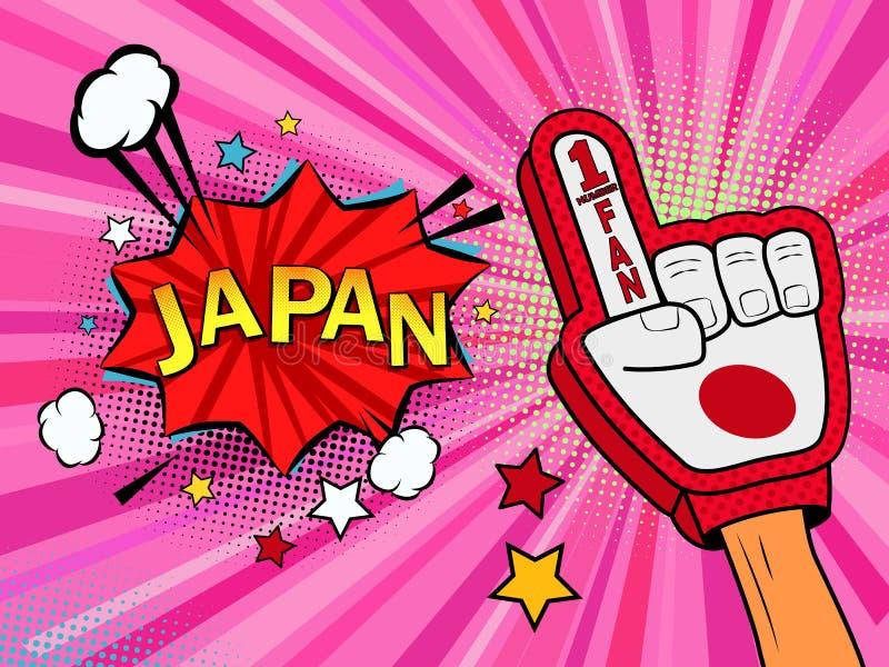 Männliche Hand des Sportfans im Handschuh hob Gewinn von Japan-Landesflagge oben feiern an Japan-Spracheblase mit Sternen und Wol lizenzfreie abbildung