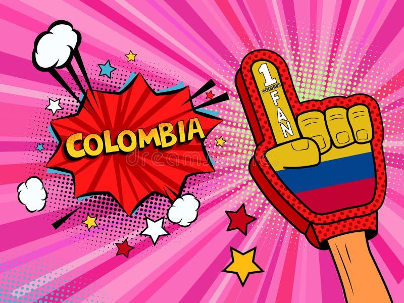 Männliche Hand des Sportfans im Handschuh hob Gewinn von Kolumbien-Landesflagge oben feiern an Kolumbien-Spracheblase mit Sternen vektor abbildung