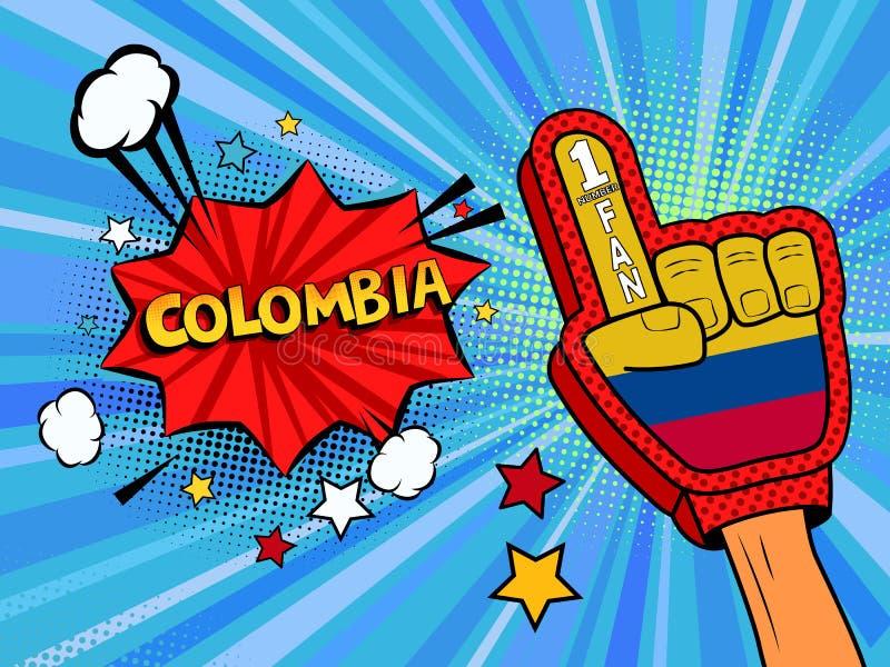 Männliche Hand des Sportfans im Handschuh hob Gewinn von Kolumbien-Landesflagge oben feiern an Kolumbien-Spracheblase mit Sternen stock abbildung