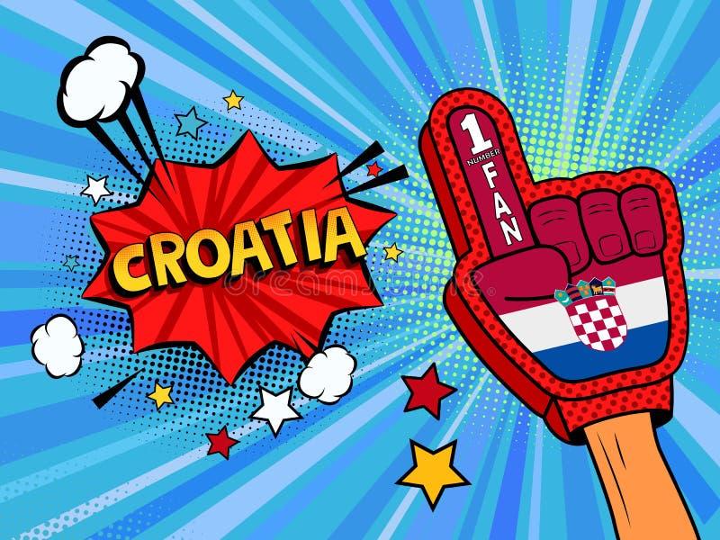 Männliche Hand des Sportfans im Handschuh hob Gewinn von Kroatien-Landesflagge oben feiern an Kroatien-Spracheblase mit Sternen u lizenzfreie abbildung