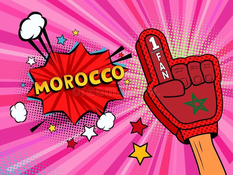 Männliche Hand des Sportfans im Handschuh hob Gewinn von Marokko-Landesflagge oben feiern an Marokko-Spracheblase mit Sternen und lizenzfreie abbildung