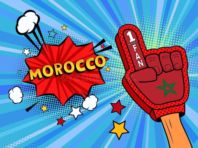 Männliche Hand des Sportfans im Handschuh hob Gewinn von Marokko-Landesflagge oben feiern an Marokko-Spracheblase mit Sternen und stock abbildung