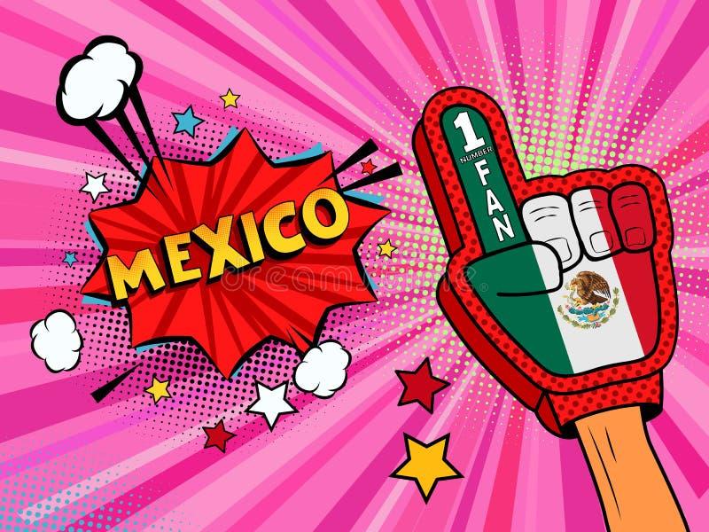 Männliche Hand des Sportfans im Handschuh hob Gewinn von Mexiko-Landesflagge oben feiern an Mexiko-Spracheblase mit Sternen und W stock abbildung