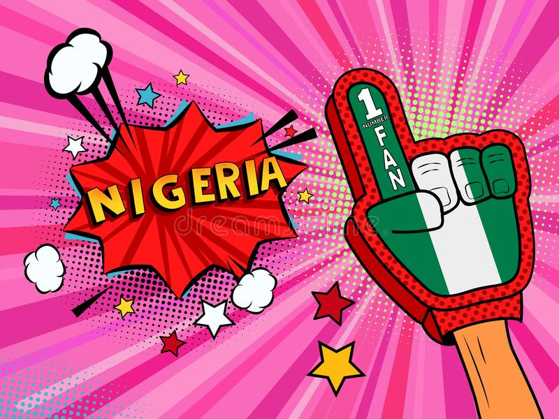 Männliche Hand des Sportfans im Handschuh hob Gewinn von Nigeria-Landesflagge oben feiern an Nigeria-Spracheblase mit Sternen und vektor abbildung