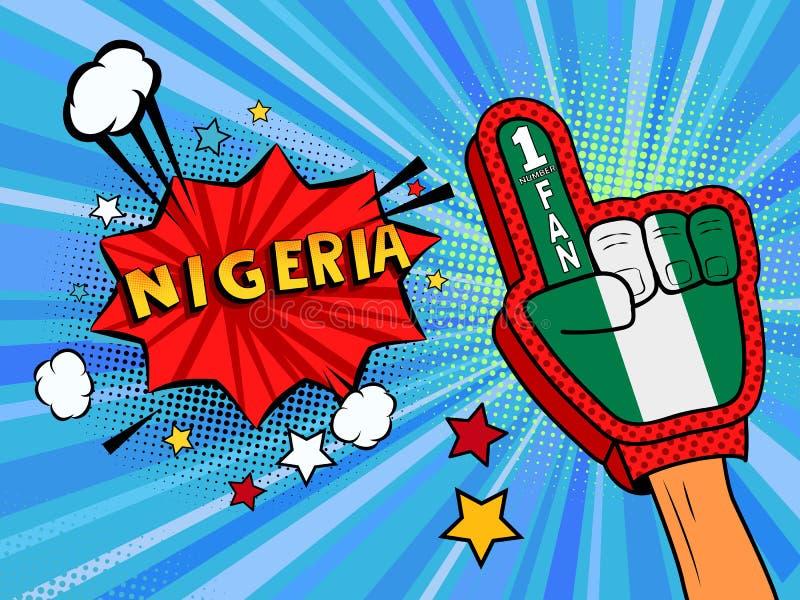 Männliche Hand des Sportfans im Handschuh hob Gewinn von Nigeria-Landesflagge oben feiern an Nigeria-Spracheblase mit Sternen und stock abbildung