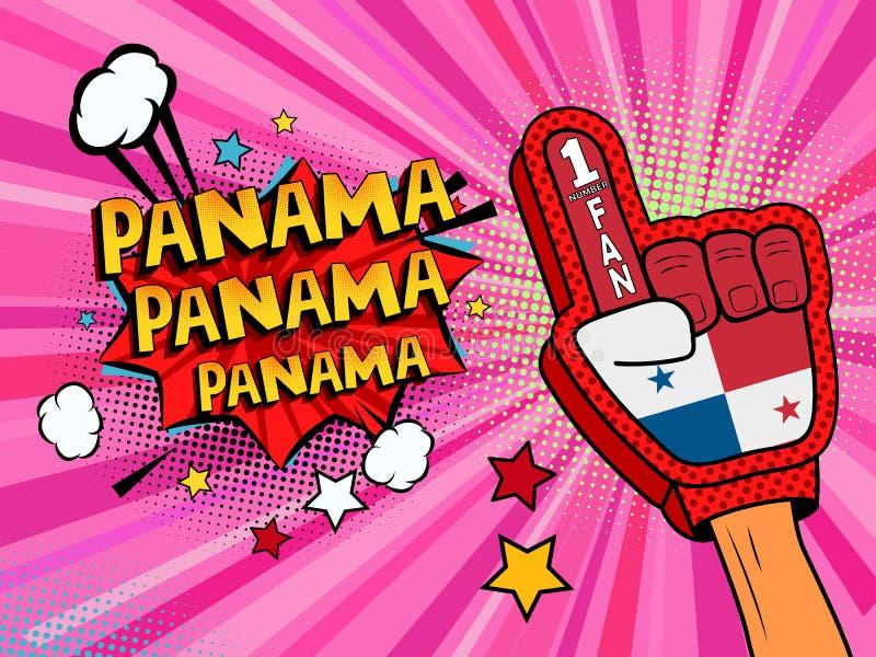 Männliche Hand des Sportfans im Handschuh hob Gewinn von Panama-Landesflagge oben feiern an Panama-Spracheblase mit Sternen und W lizenzfreie abbildung