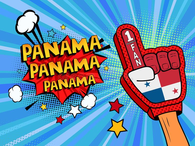 Männliche Hand des Sportfans im Handschuh hob Gewinn von Panama-Landesflagge oben feiern an Panama-Spracheblase mit Sternen und W vektor abbildung