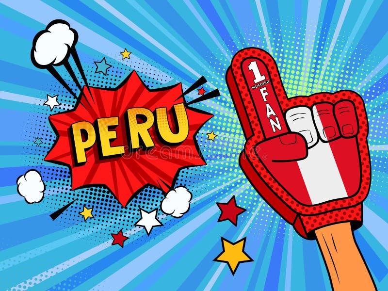 Männliche Hand des Sportfans im Handschuh hob Gewinn von Peru-Landesflagge oben feiern an Peru-Spracheblase mit Sternen und Wolke vektor abbildung